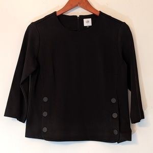 CAbi Structured Blouse Black Button Detail Small